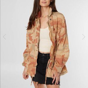 Free People Lead The Way Taupe Camo Utility Jacket